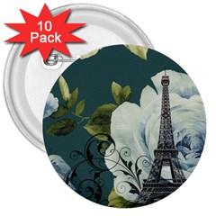 Blue Roses Vintage Paris Eiffel Tower Floral Fashion Decor 3  Button (10 Pack)