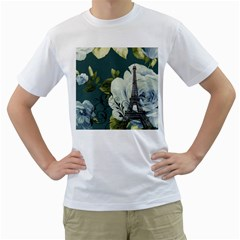 Blue Roses Vintage Paris Eiffel Tower Floral Fashion Decor Mens  T Shirt (white)
