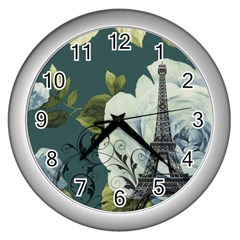 Blue roses vintage Paris Eiffel Tower floral fashion decor Wall Clock (Silver)