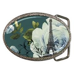 Blue roses vintage Paris Eiffel Tower floral fashion decor Belt Buckle (Oval)