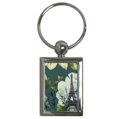 Blue Roses Vintage Paris Eiffel Tower Floral Fashion Decor Key Chain (rectangle)