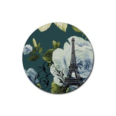 Blue roses vintage Paris Eiffel Tower floral fashion decor Drink Coaster (Round)