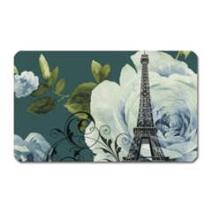 Blue roses vintage Paris Eiffel Tower floral fashion decor Magnet (Rectangular)