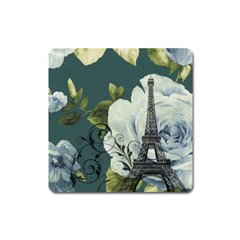 Blue roses vintage Paris Eiffel Tower floral fashion decor Magnet (Square)