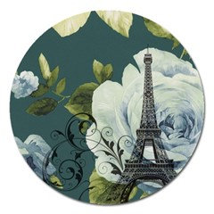Blue Roses Vintage Paris Eiffel Tower Floral Fashion Decor Magnet 5  (round)