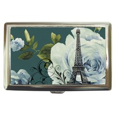 Blue Roses Vintage Paris Eiffel Tower Floral Fashion Decor Cigarette Money Case