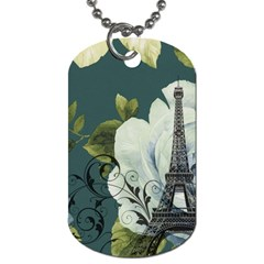 Blue Roses Vintage Paris Eiffel Tower Floral Fashion Decor Dog Tag (two Sided)