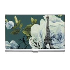 Blue roses vintage Paris Eiffel Tower floral fashion decor Business Card Holder