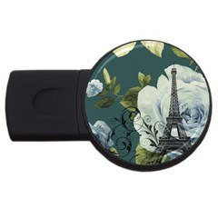 Blue roses vintage Paris Eiffel Tower floral fashion decor 1GB USB Flash Drive (Round)