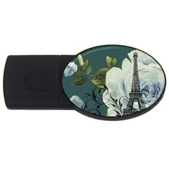 Blue Roses Vintage Paris Eiffel Tower Floral Fashion Decor 2gb Usb Flash Drive (oval)