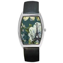 Blue Roses Vintage Paris Eiffel Tower Floral Fashion Decor Tonneau Leather Watch