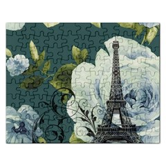 Blue Roses Vintage Paris Eiffel Tower Floral Fashion Decor Jigsaw Puzzle (rectangle)