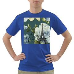 Blue Roses Vintage Paris Eiffel Tower Floral Fashion Decor Mens' T Shirt (colored)