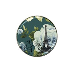 Blue Roses Vintage Paris Eiffel Tower Floral Fashion Decor Golf Ball Marker 4 Pack (for Hat Clip)