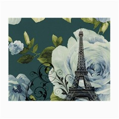 Blue roses vintage Paris Eiffel Tower floral fashion decor Glasses Cloth (Small)