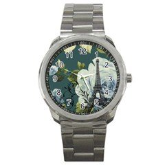 Blue Roses Vintage Paris Eiffel Tower Floral Fashion Decor Sport Metal Watch