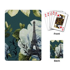 Blue roses vintage Paris Eiffel Tower floral fashion decor Playing Cards Single Design