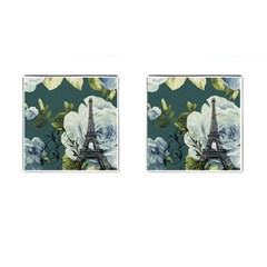Blue roses vintage Paris Eiffel Tower floral fashion decor Cufflinks (Square)