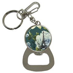 Blue roses vintage Paris Eiffel Tower floral fashion decor Bottle Opener Key Chain