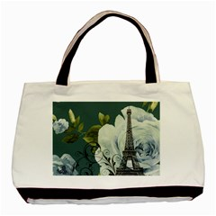 Blue Roses Vintage Paris Eiffel Tower Floral Fashion Decor Classic Tote Bag