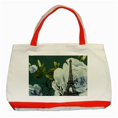 Blue roses vintage Paris Eiffel Tower floral fashion decor Classic Tote Bag (Red)