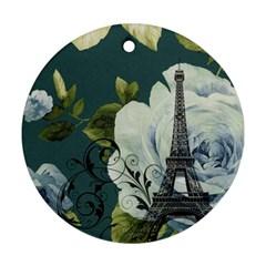 Blue roses vintage Paris Eiffel Tower floral fashion decor Round Ornament (Two Sides)