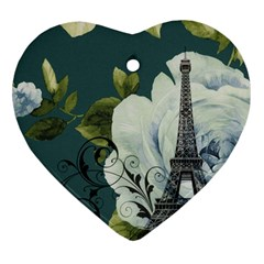 Blue roses vintage Paris Eiffel Tower floral fashion decor Heart Ornament (Two Sides)