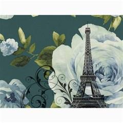 Blue Roses Vintage Paris Eiffel Tower Floral Fashion Decor Canvas 12  X 16  (unframed)