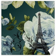 Blue Roses Vintage Paris Eiffel Tower Floral Fashion Decor Canvas 16  X 16  (unframed)