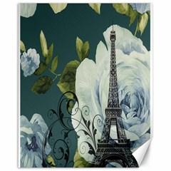 Blue roses vintage Paris Eiffel Tower floral fashion decor Canvas 16  x 20  (Unframed)