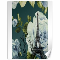 Blue Roses Vintage Paris Eiffel Tower Floral Fashion Decor Canvas 18  X 24  (unframed)
