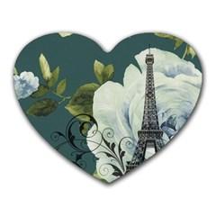 Blue roses vintage Paris Eiffel Tower floral fashion decor Mouse Pad (Heart)