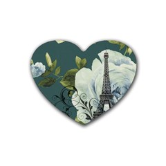 Blue roses vintage Paris Eiffel Tower floral fashion decor Drink Coasters 4 Pack (Heart)