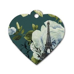 Blue roses vintage Paris Eiffel Tower floral fashion decor Dog Tag Heart (One Sided)