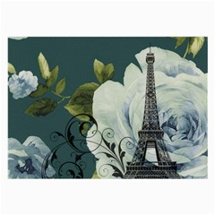 Blue roses vintage Paris Eiffel Tower floral fashion decor Glasses Cloth (Large, Two Sided)