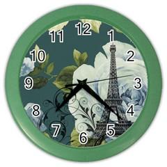 Blue Roses Vintage Paris Eiffel Tower Floral Fashion Decor Wall Clock (color)