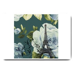 Blue roses vintage Paris Eiffel Tower floral fashion decor Large Door Mat