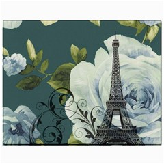 Blue Roses Vintage Paris Eiffel Tower Floral Fashion Decor Canvas 11  X 14  (unframed)