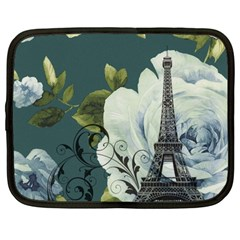 Blue roses vintage Paris Eiffel Tower floral fashion decor Netbook Case (Large)