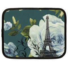 Blue Roses Vintage Paris Eiffel Tower Floral Fashion Decor Netbook Case (large)