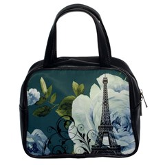 Blue roses vintage Paris Eiffel Tower floral fashion decor Classic Handbag (Two Sides)