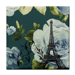 Blue roses vintage Paris Eiffel Tower floral fashion decor Face Towel