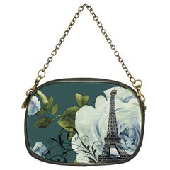 Blue roses vintage Paris Eiffel Tower floral fashion decor Chain Purse (Two Sided)