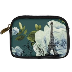 Blue roses vintage Paris Eiffel Tower floral fashion decor Digital Camera Leather Case