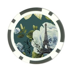 Blue Roses Vintage Paris Eiffel Tower Floral Fashion Decor Poker Chip 10 Pack