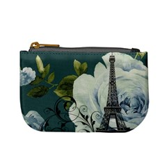 Blue roses vintage Paris Eiffel Tower floral fashion decor Coin Change Purse