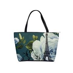 Blue roses vintage Paris Eiffel Tower floral fashion decor Large Shoulder Bag