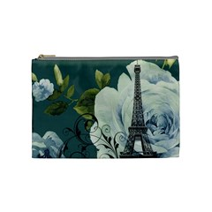 Blue Roses Vintage Paris Eiffel Tower Floral Fashion Decor Cosmetic Bag (medium)