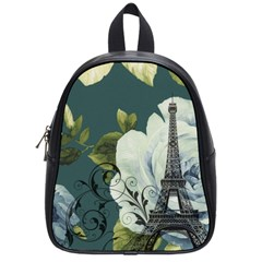 Blue Roses Vintage Paris Eiffel Tower Floral Fashion Decor School Bag (small)