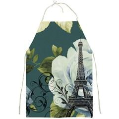 Blue roses vintage Paris Eiffel Tower floral fashion decor Apron